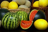 picture of honeydew melon  - Fresh healthy organic melons on black background - JPG