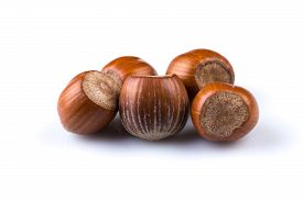 picture of filbert  - Hazelnuts nuts filberts isolated on white background - JPG
