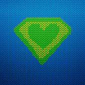 Постер, плакат: Knited superman icon with Green heart