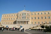 stock photo of evzon  - the building of the greek parliament in athens - JPG