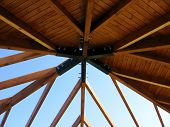 stock photo of pergola  - view of the roof of pergola wooden structure - JPG