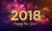 2018 Happy New Year Background Texture With Glitter Fireworks. Vector Gold Glittering Text And Numbe poster