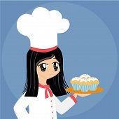 Cute Cartoon Baker Girl poster