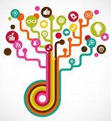 Постер, плакат: Дерево социальной сети с иконок СМИ
