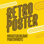 Vector Trendy Retro Uppercase Alphabet Letters Collection. Disco Thin, Narrow Type Font, Script From poster