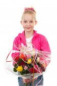 Girl Is Giving Bouquet Of Roses