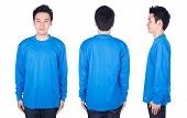 Man In Blue Long Sleeve T-shirt Isolated On White Background poster
