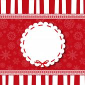 Holiday Round Vintage Template On Striped Red And White Backgrou poster