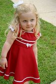 stock photo of prissy  - Sweet little girl modeling her red Christmas dress - JPG