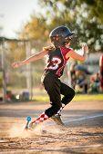 Running child playing baseball or softball poster