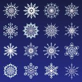 Separate Snowflakes Doodles Icon White Vector Rustic Christmas Clipart New Year Snow Crystal Illustr poster