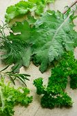 Variety of leafy vegetables