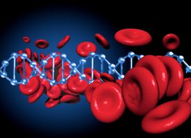 stock photo of red blood cells  - DNA and red blood cells together in an conceptual image - JPG