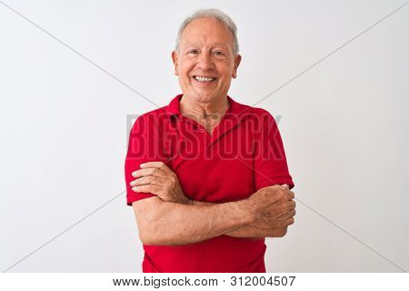 poster of Senior grey-haired man wearing red polo standing over isolated white background happy face smiling w