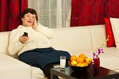 Elderly Woman Watch Tv In Living Room