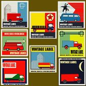 pic of campervan  - Set of retro Van and Lorry vintage labels - JPG