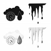 Isolated Object Of Weather And Climate Icon. Set Of Weather And Cloud Stock Vector Illustration. poster