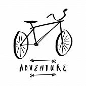 Inspiring Travel Typography Design. Vector Clipart Bicycle Adventure poster