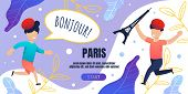 Bonjour Paris Banner Template With Happy Running Children. Voyage For Kids To France On Summer Vacat poster