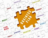 stock photo of puzzle  - Puzzle pieces with business terms written on them - JPG