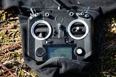 Black Rc Controller Or Transmitter For Racing Drones poster
