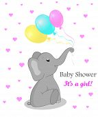Invitation Card Baby Shower With Elephant For Girl. Cute Elephant With Balloons. Birthday Greetings  poster