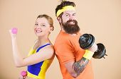 Healthy Lifestyle Concept. Man And Woman Exercising With Dumbbells. Fitness Exercises With Dumbbells poster