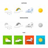 Isolated Object Of Weather And Climate Icon. Collection Of Weather And Cloud Stock Bitmap Illustrati poster