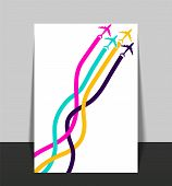 Template With Colorful Airplanes. Business Avia Card With Four Airplanes With Tapes. Travel Of Airpl poster