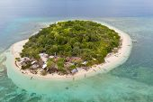 Round Tropical Island With White Sandy Beach, Top View. Mantigue Island, Philippines.small Inhabited poster