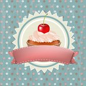 stock photo of cupcakes  - Birthday Cupcake With Cherry - JPG
