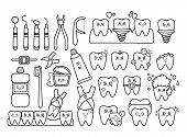 Black And White Set Of Kawaii Teeth, Dentistry Tools, With Different Emodji, Cute Cartoon Characters poster