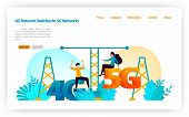 Transition And Replacement Of 4g Lte Network To Latest 5g Network. Switches Internet Network And Wir poster