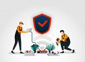 Vector Illustration. Workers From Security Companies Are Checking Or Maintaining Security Systems On poster