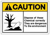 Caution Dispose Of These Chemical Correctly They Are Dangerous To The Environment Symbol Sign, Vecto poster