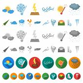 Different Weather Cartoon Icons In Set Collection For Design.signs And Characteristics Of The Weathe poster