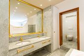 Luxury bathroom with green marble and gold sinks. Nobody inside poster