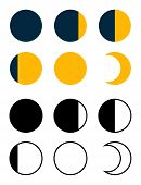 Flat Design. Moon Icon. Astronomical Phases Of A Celestial Body. - Vector. poster