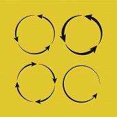 Circle Arrow Icon. Circled Cursor Web Recycling Progress Buttons poster