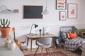 Mid Century Furniture In Genderless White Bedroom For Kid poster