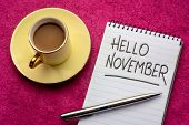 Hello November - handwriting in a notebook with a cup of coffee poster