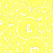 British Pound Gold Coins Seamless Pattern. Bewitching Scattered Yellow Gbp Coins. Success Concept. U poster