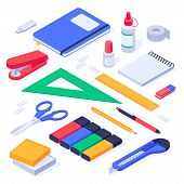 Isometric Office Supplies. School Stationery Tools, Pencil Eraser And Pens. Stationery Stapler, Note poster