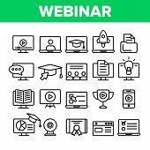 Webinar, Online Education Linear Icons Set. Webinar, Conference, Distance Learning Outline Symbols P poster