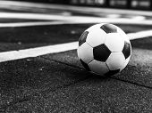 Soccer Ball On The Playground. Ball For Playing Street Football On A Street Soccer Field. Streetball poster