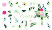 Vector Floral Bouquet Design. Set Of Floral Branch. Hand Painted Floral Elements Set. Set Of Vintage poster