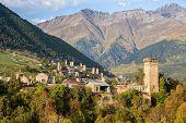 Scenic Autumn View Of Svan Towers On A Background Of Mountains, Mestia, Upper Svaneti, Georgia poster