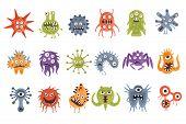 Aggressive Fantastic Monster Microorganisms Set. Bright Color Primitive Unfriendly Creatures Of Diff poster