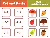Matching Children Educational Game. Match Mushrooms And Numbers. Mathematics Activity For Kids And T poster