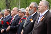 MOSCOW - MAY 8: Russian Federation State Duma deputies at ceremony of wreath laying at tomb of Unkno